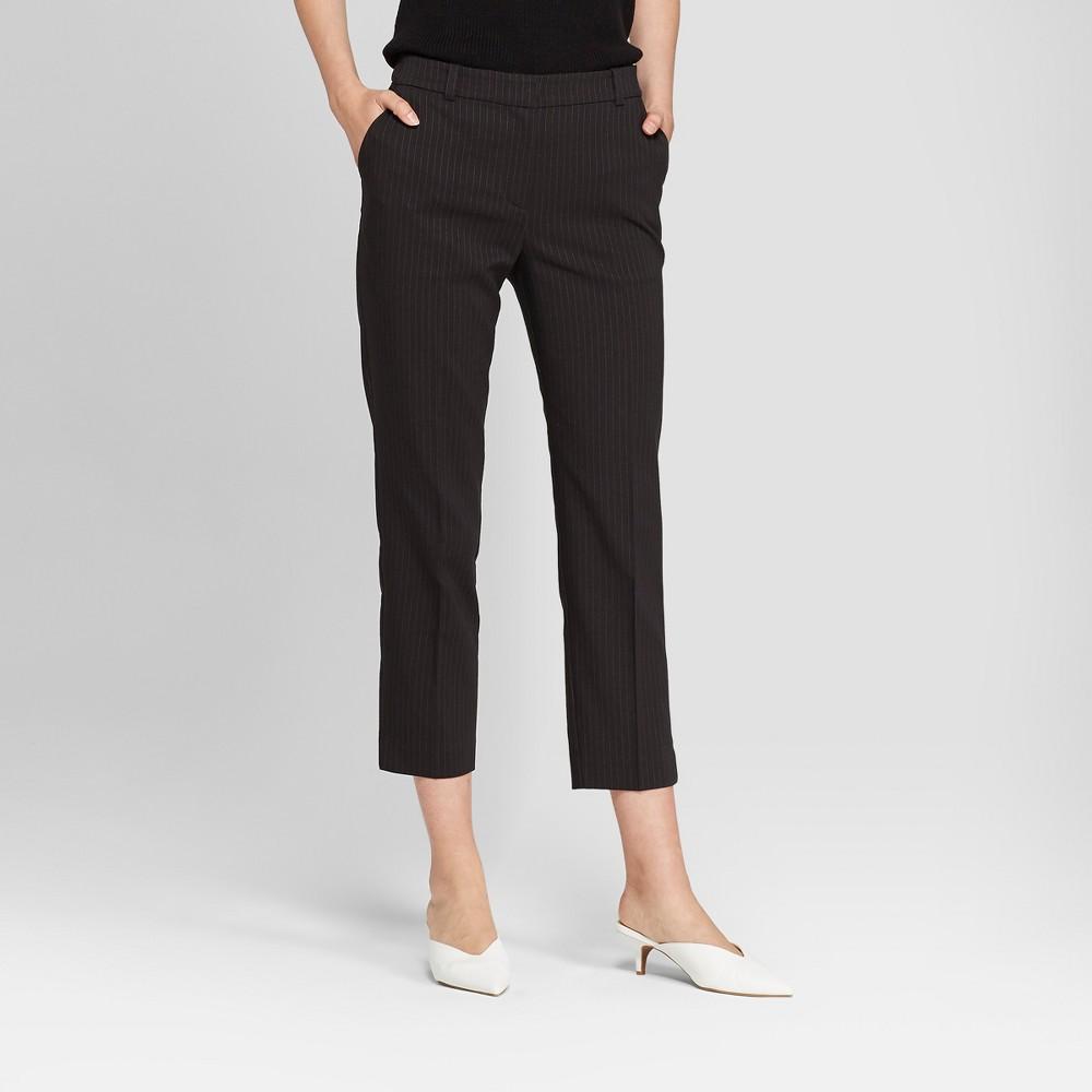 Women's Pinstripe Straight Leg Ankle Length Trouser - Prologue Black/White 4, Black/White Pinstripe