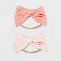 Baby Girls' 2pk Skinny Headwraps with Muslin Bows - Cloud Island™ Pink