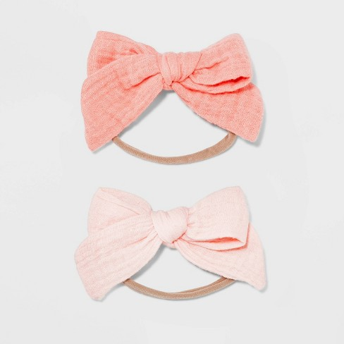 Baby Girls' 2pk Skinny Headwraps with Muslin Bows - Cloud Island™ Pink - image 1 of 1