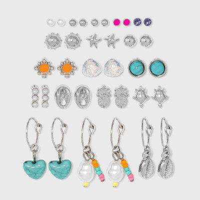 Tropical Multi Earring Set 18pc - Wild Fable™ Dark Silver