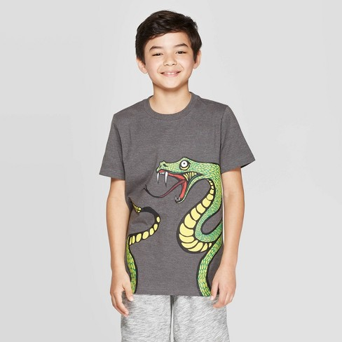 Boys' Short Sleeve Graphic T-Shirt - Cat & Jack™ Charcoal - image 1 of 3