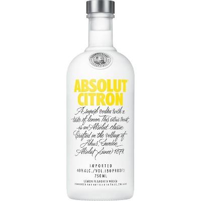 Absolut Citron Vodka - 750ml Bottle