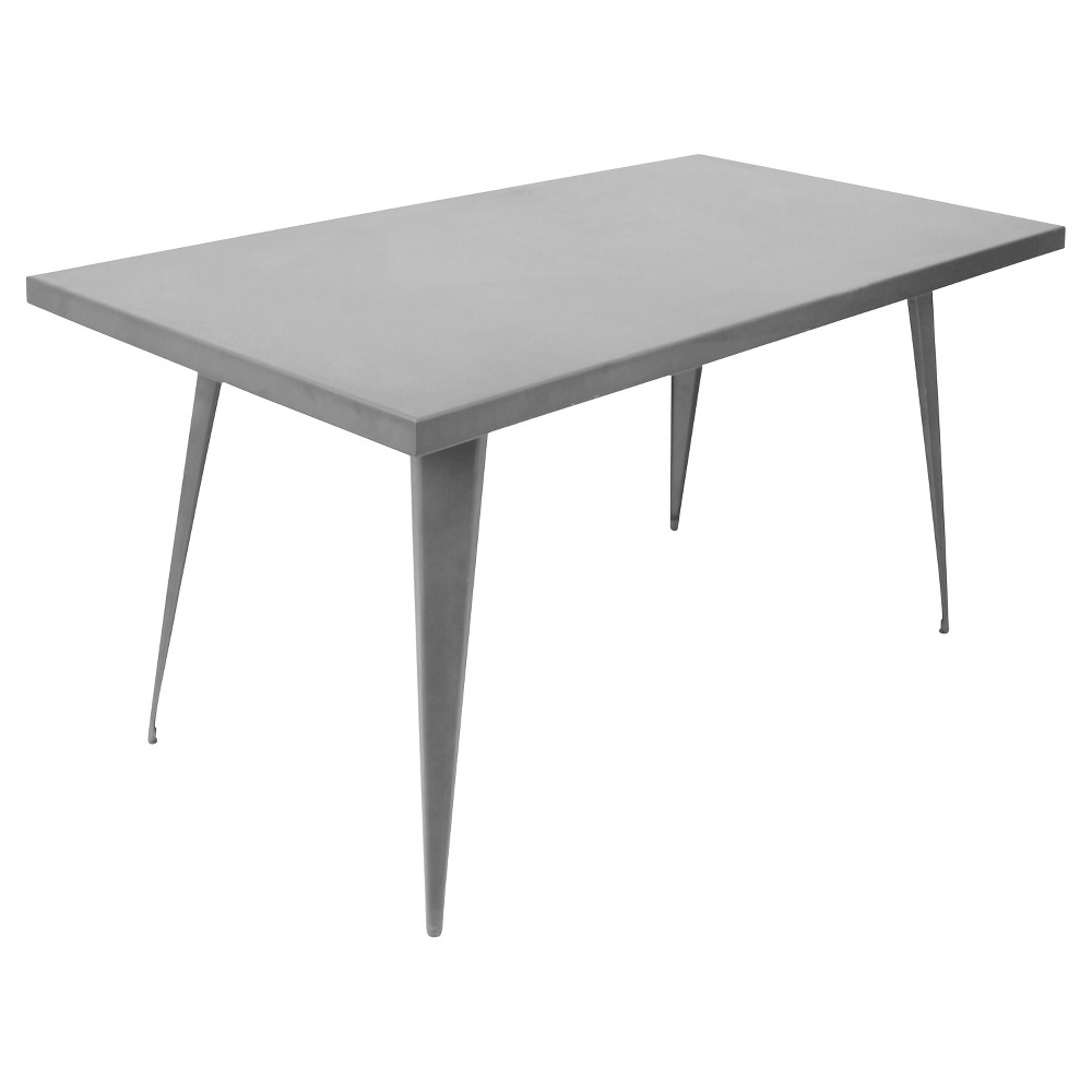 Austin 59 Industrial Dining Table Matte Gray Metal Finish - LumiSource