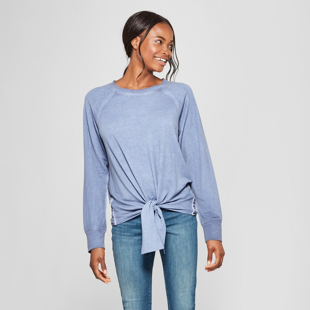 Image of Women's Long Sleeve Tie Front Top - Alison Andrews Blue M, Size: Small