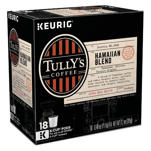 Tully's Coffee Hawaiian Blend Medium Roast Coffee - Keurig K-Cup Pods - 18ct - image 1 of 3