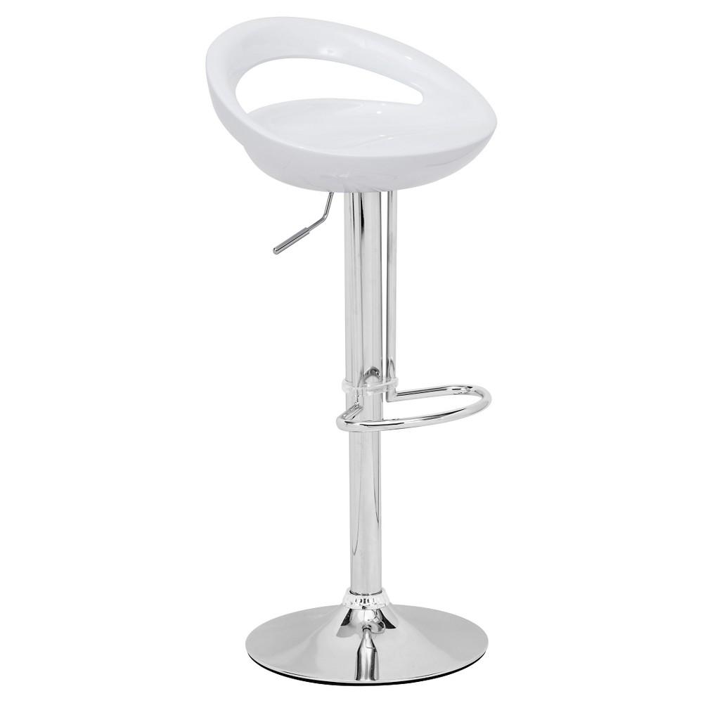 Sculpted Ergonomic Adjustable 24 Barstool - White - ZM Home
