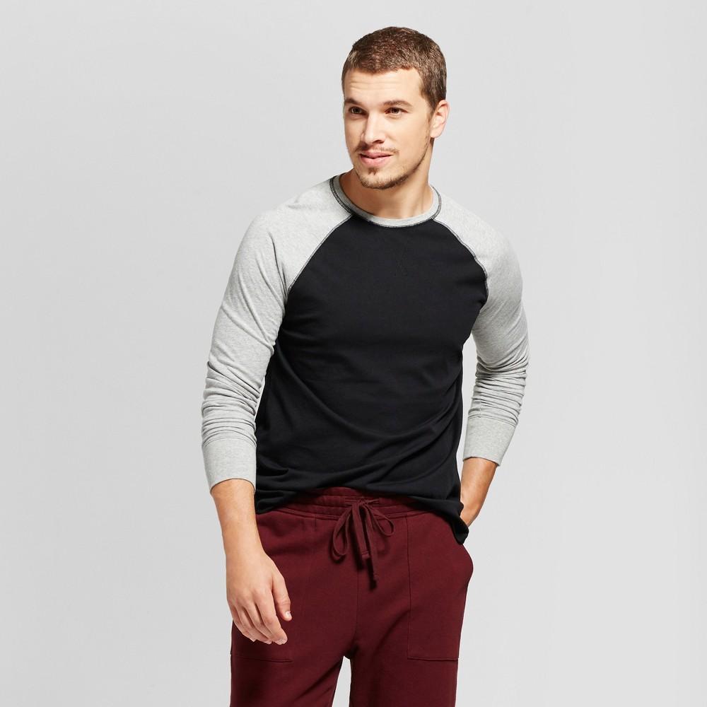 Men's Standard Fit Long Sleeve Raglan Color Block Crew T-Shirt - Goodfellow & Co Gray/Black S