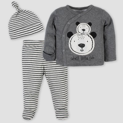 Gerber Baby Boys' 3pc Bear Take Me Home Bodysuit Set - Gray Newborn