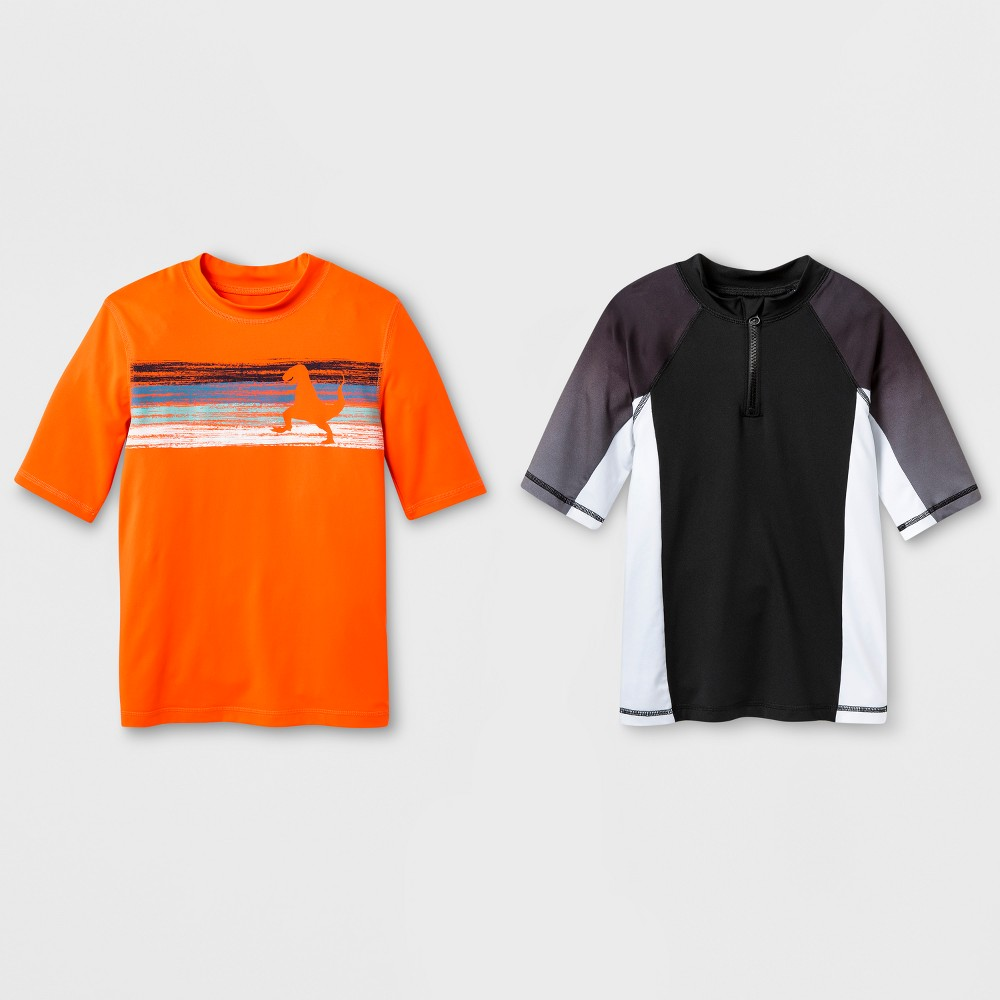 Boys' 2pc Short Sleeve Rash Guard Set - Cat & Jack Black/Orange XS