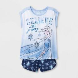 Girls' Frozen 2pc Short Sleeve Pajama Set - Blue