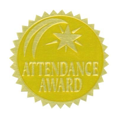 Hammond & Stephens Attendance Award Gold Foil Embossed Seal, pk of 54