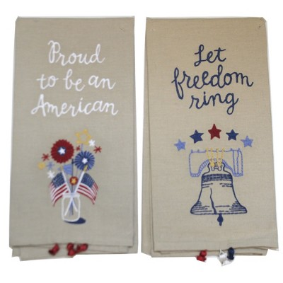 "Tabletop 26.0"" Proud American Dish Towel- Liberty Bell American Flag Primitives By Kathy  -  Kitchen Towel"