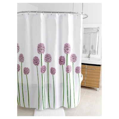 Fabric Floral Shower Curtain Purple/Green - Splash Home