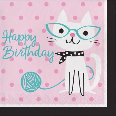 48ct Cat Print Birthday Party Napkins Pink