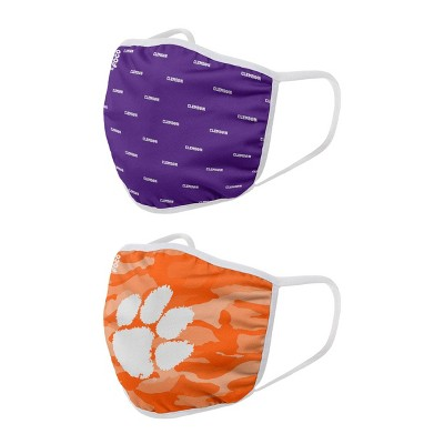 NCAA Clemson Tigers Adult Face Covering 2pk