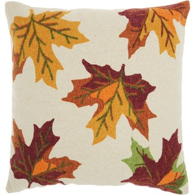 """20""""x20"""" Holiday Leaves Throw Pillow Ivory - Nourison"""