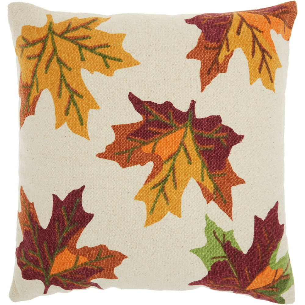 Image of Home For The Holiday Leaves Throw Pillow - Nourison