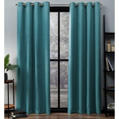 Exclusive Home Oxford Textured Sateen Thermal Room Darkening Grommet Top Window Curtain Panel Pair