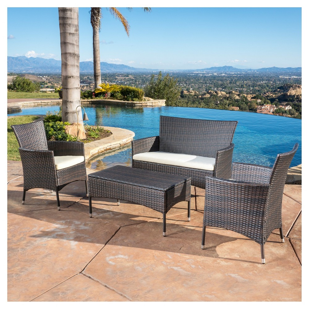 Malta 4pc Wicker Patio Chat Set with Cushions - Brown - Christopher Knight Home