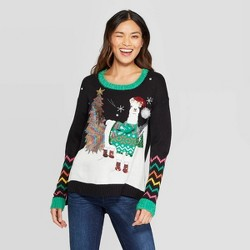 Women's Long Sleeve Llama Ugly Holiday Sweater - 33 Degrees (Juniors') - Black