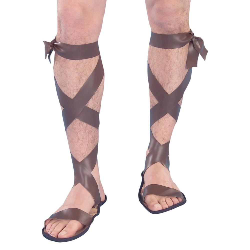 Image of Halloween Roman Men's Sandals Brown Costume - One Size