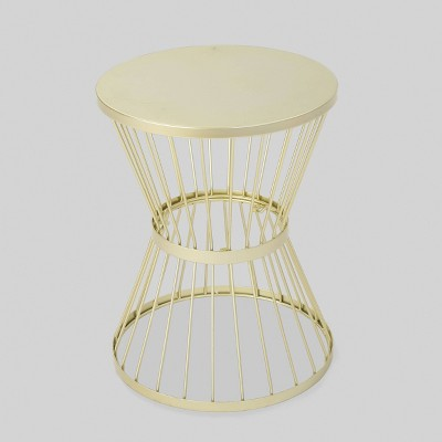 Lassen 16  Iron Patio Side Table - Matte Gold - Christopher Knight Home