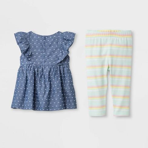 bc6bcb3fe540 Baby Girls  Faux Denim Tunic And Stripe Leggings - Cat   Jack™ Blue Green    Target