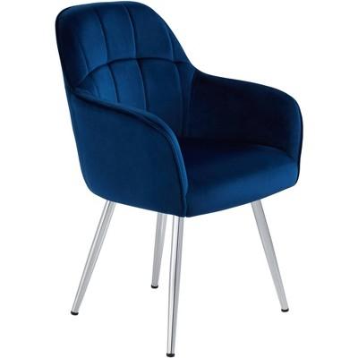 55 Downing Street Prentice Blue Velvet Modern Dining Chair