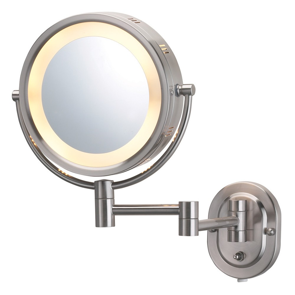 Jerdon 5X1X Halo Lighted Wall Mirror Double Arm Nickel