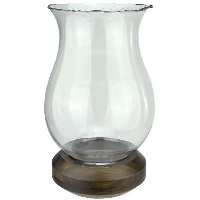 """Northlight 17"""" Wavy Edged Clear Glass Hurricane Pillar Candle Holder with Wooden Base"""
