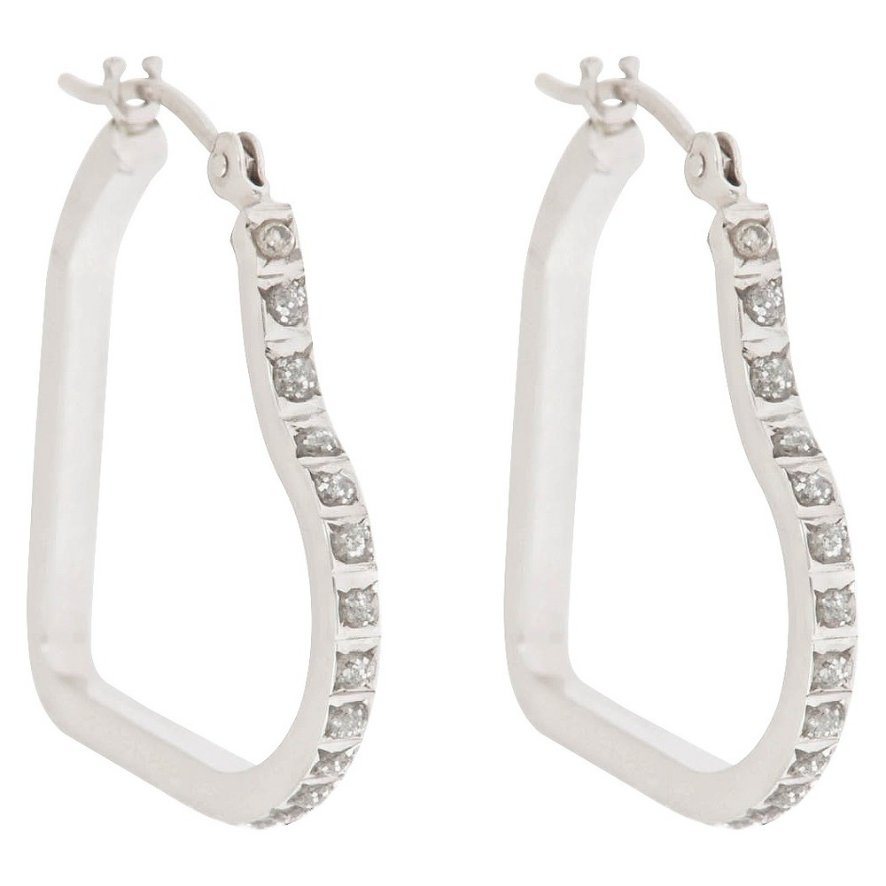 Heart Sterling Silver Earrings with Diamond Accents - White