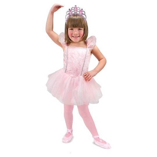 Melissa & Doug Ballerina Role Play Costume Set (4pc) - Includes Ballet Slippers, Tutu, Women's, Size: Small, Gold/Pink image number null