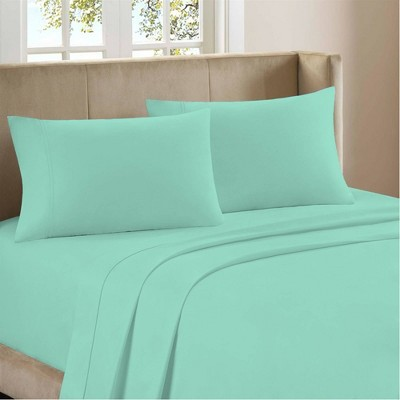 Full 1200 Thread Count Cotton Rich Sateen Sheet Set Green - Color Sense