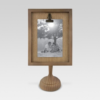 4 x6  Clip Frame Pedestal Wood Grain - Threshold™