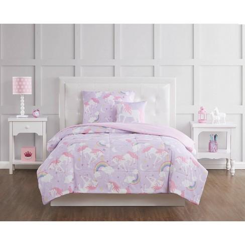Twin 3pc Rainbow Unicorn Comforter Set, Pink Unicorn Bedding Twin