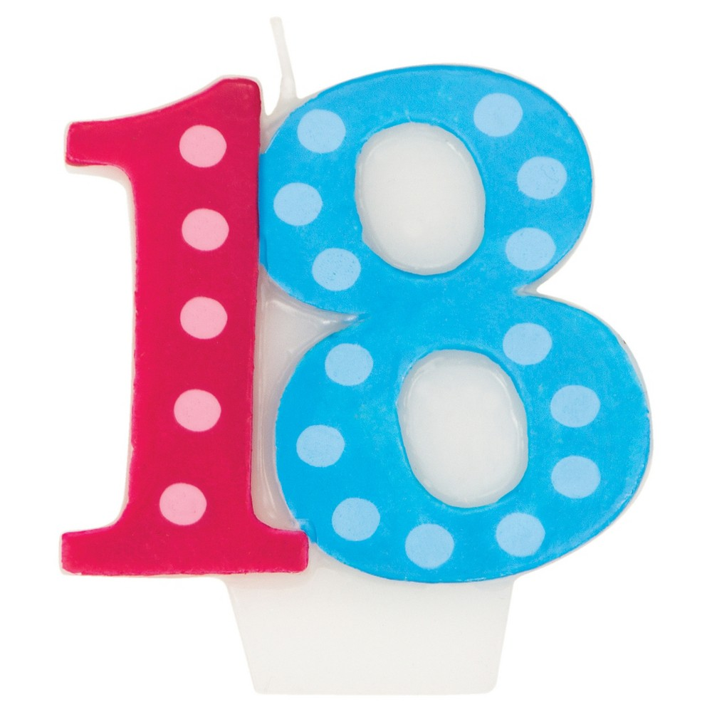 Bright And Bold 18th Birthday Candle