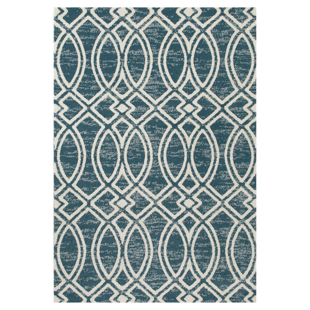 Image of Aqua Abstract Woven Area Rug - (7'X9') - Art Carpet, Blue