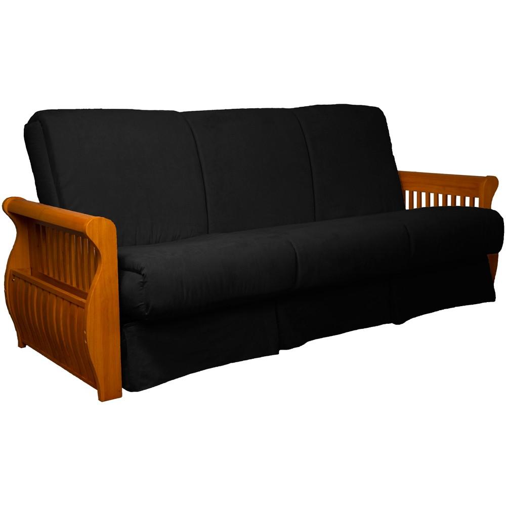 Storage Arm Perfect Futon Sofa Sleeper Medium Oak Wood Finish Black - Epic Furnishings