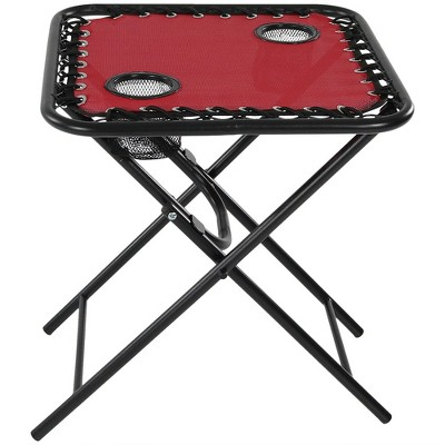 Sunnydaze Weather-Resistant Lightweight Outdoor Folding Camping Side Table with Mesh Drink Holders - Red