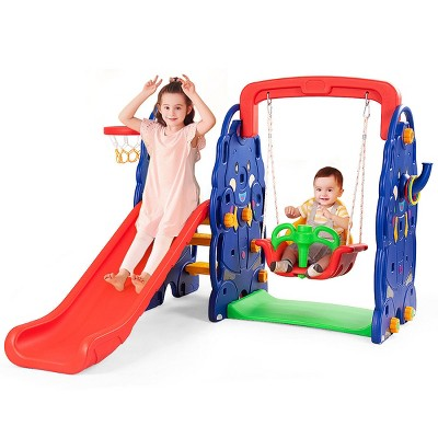 Costway 3 in 1 Junior Children Climber Slide Swing Seat Basketball Hoop Playset Backyard