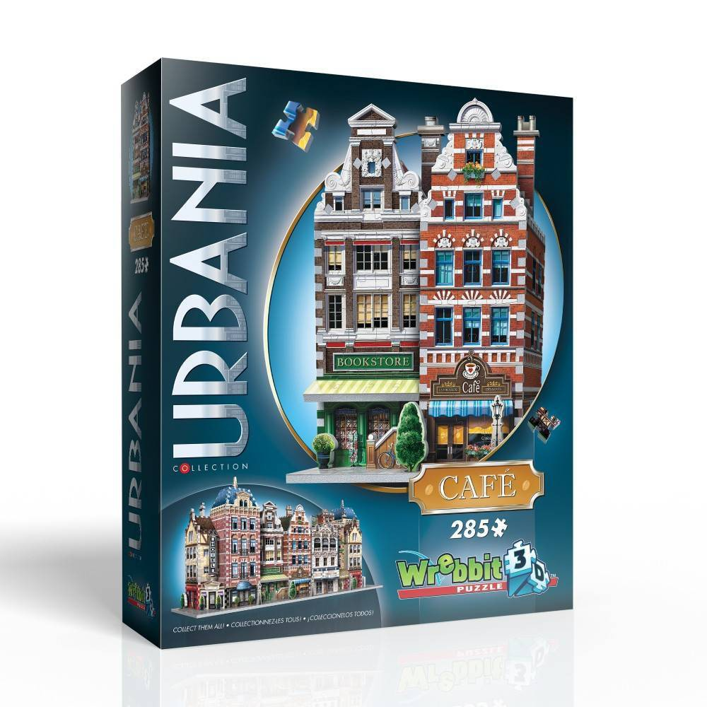 Wrebbit Urbania Collection Cafe 3D Puzzle 385pc Part of the unique and expandable Urbania Collection which reproduces charming city houses and buildings of different sizes, design and purpose you would typically find on the main street of an urban township. The idea is to recreate the idyllic urban living environment you could see yourself strolling about every day, and with the collectible and combinable 3D puzzles of the Urbania Collection, you now have the blueprints. Café assembled dimensions: 7.5 inches L x 5.25 inches W x 11 inches H. Wrebbit 3D puzzles have snug and tight fitting foam back pieces that are easy to handle. They are the sturdiest 3D puzzles on the market. Highest quality of design and illustration. Made in Canada. Age - 10 and up. Warning: Choking Hazard -- Small parts. Not for children under 3 yrs. Gender: Unisex.