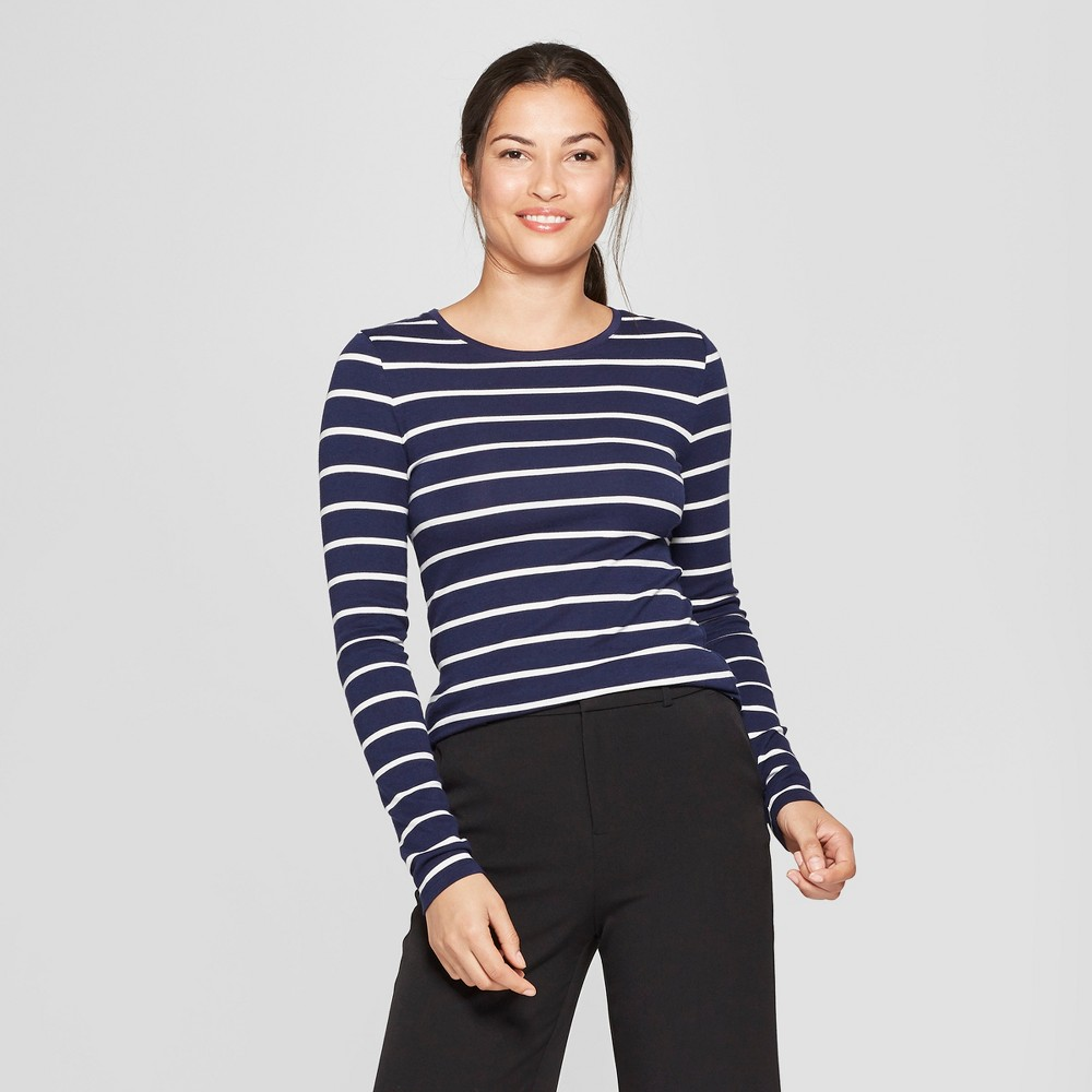 Women's Striped Long Sleeve Fitted Crew T-Shirt - A New Day Navy/White (Blue/White) XS