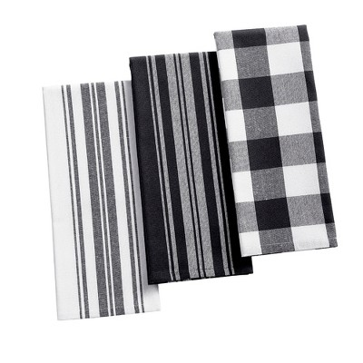 """Farmhouse Living Stripe and Check Kitchen Towels, Set of 3 - 17"""" x 28"""" - Elrene Home Fashions"""