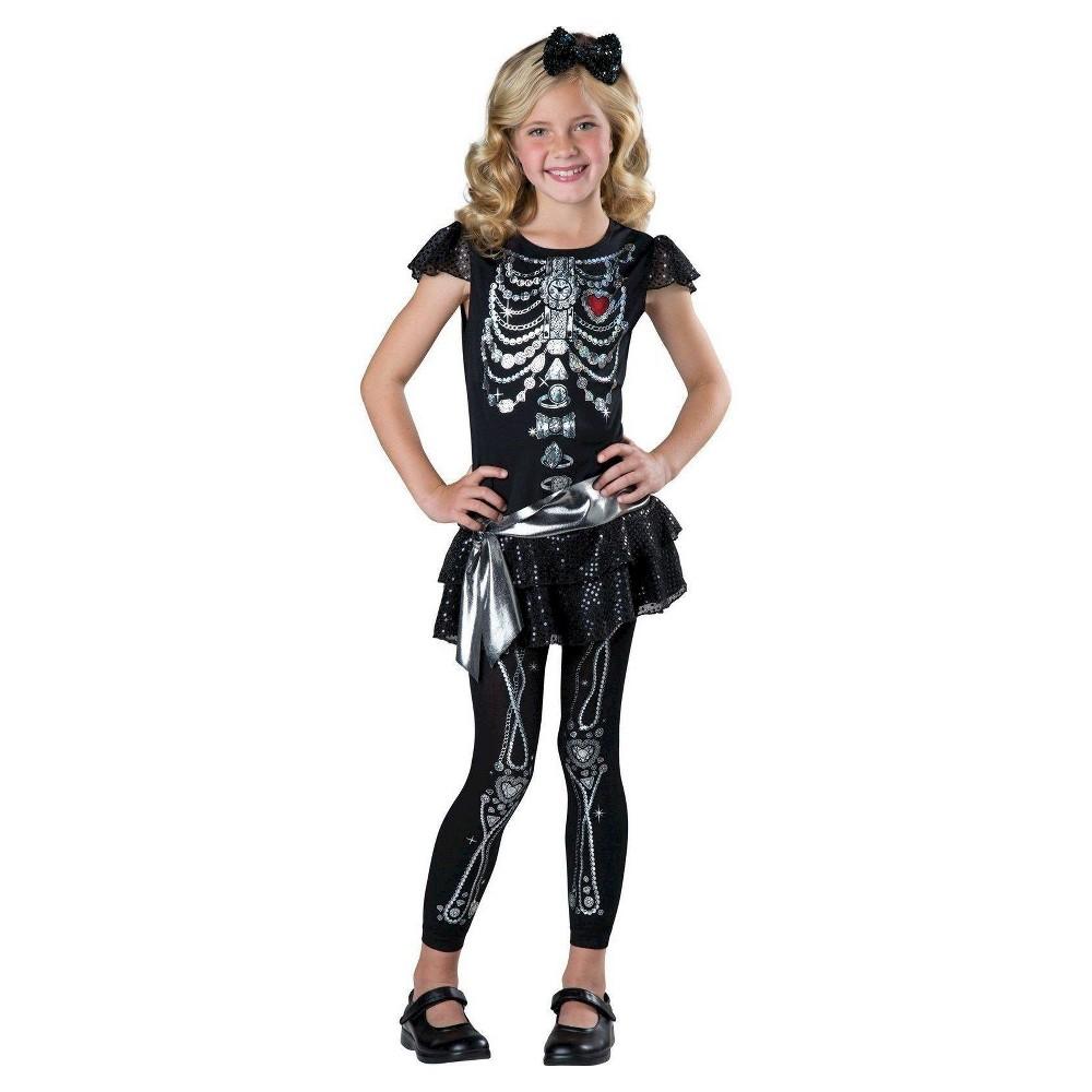 Girls' Sparkly Skeleton Costume Medium, Size: M(7-8), Black