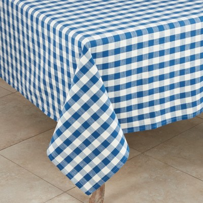 Saro Lifestyle Classic Picnic Summer Cotton Gingham Plaid Design Tablecloth