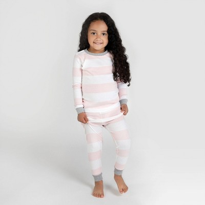 Burt's Bees Baby® Toddler Girls' Rugby Stripe Organic Cotton Snug Fit Pajama Set - Pink