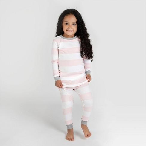 Burt's Bees Baby® Toddler Girls' Rugby Stripe Organic Cotton Snug Fit Pajama Set - Pink - image 1 of 4