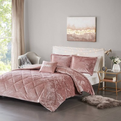 4pc Full/Queen Alyssa Velvet Duvet Cover Set - Blush