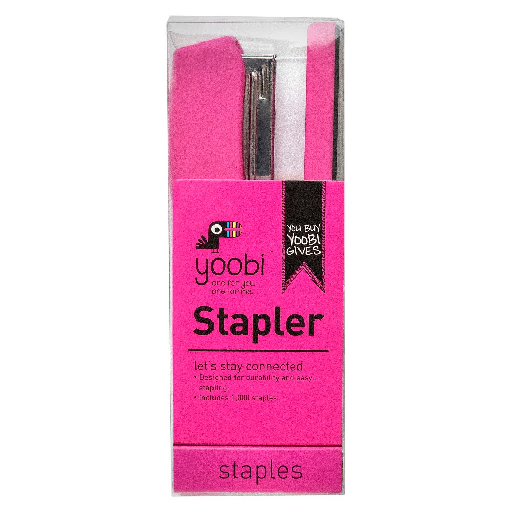 Yoobi Stapler with Staples - 1000 Staples - Pink