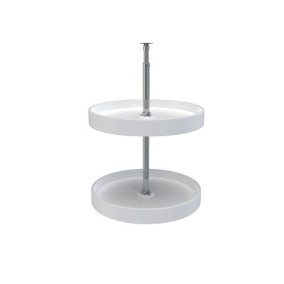 Rev-A-Shelf 6012-18-11-52 18-Inch White Polymer Full Circle 2-Shelf Lazy Susan Kitchen Cabinet Corner Storage Organizer
